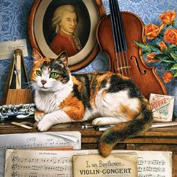Пазл онлайн: Кот-музыкант