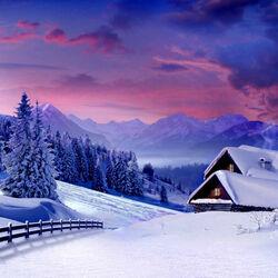 Пазл онлайн: Дом в зимних горах