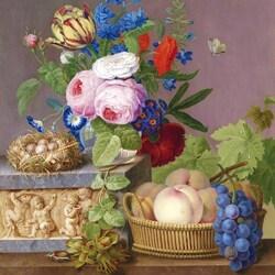 Пазл онлайн: Натюрморт с цветами, фруктами и гнездом