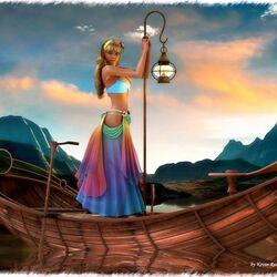 Пазл онлайн: Девушка с фонарем в лодке