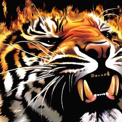 Пазл онлайн: Огненный тигр