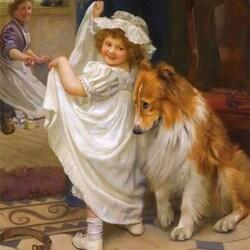 Пазл онлайн: Девочка и собака