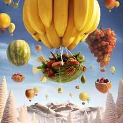 Пазл онлайн: Банановый дирижабль