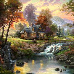 Пазл онлайн: Деревянный дом у реки