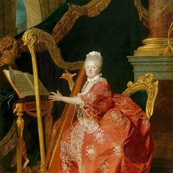 Пазл онлайн: Мадам Виктуар, дочь Людовика XV, играющая на арфе