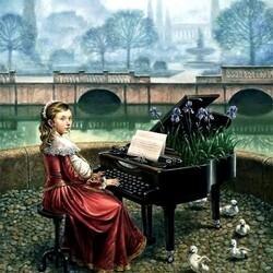 Пазл онлайн: Юная пианистка