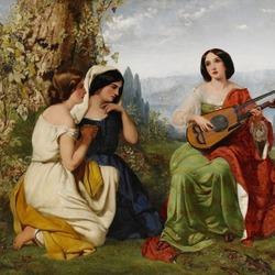 Пазл онлайн: Романтическая сцена с девушкой, играющей на лютне