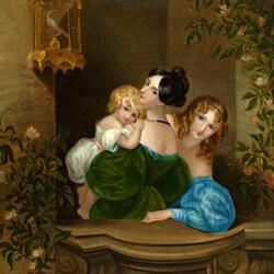 Пазл онлайн: Две молодые женщины с ребенком на балконе
