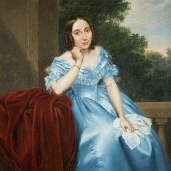 Пазл онлайн: Портрет девушки в голубом платье