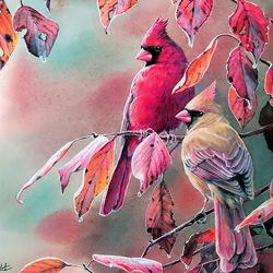 Пазл онлайн: Дождливая осень. Красный кардинал
