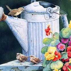 Пазл онлайн: Любопытные пташки