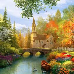 Пазл онлайн: Церковь осенью