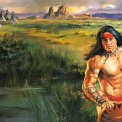 Пазл онлайн: Индейская деревня