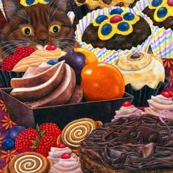 Пазл онлайн: Торт для кошки