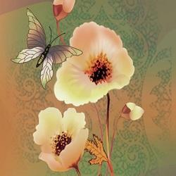 Пазл онлайн: Бабочка и анемоны