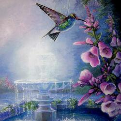 Пазл онлайн: Колибри у фонтана