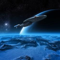 Пазл онлайн: Звездолёт над планетой