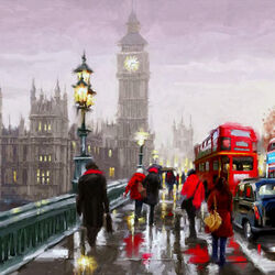 Пазл онлайн: Дождливый вечер