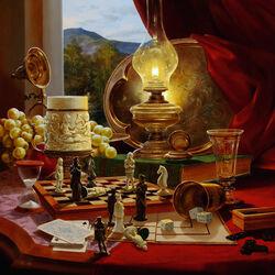 Пазл онлайн: Натюрморт с шахматными фигурами