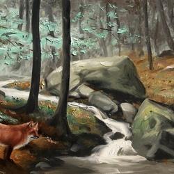Пазл онлайн: У лесного ручья