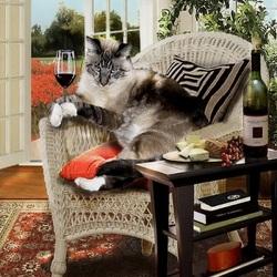 Пазл онлайн: Кот на отдыхе