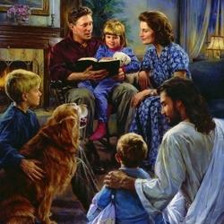 Пазл онлайн: Семья за чтением