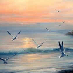 Пазл онлайн: Чайки над морем