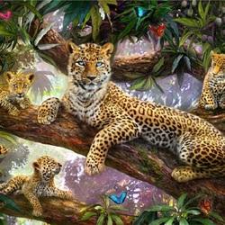 Пазл онлайн: Леопард с котятами