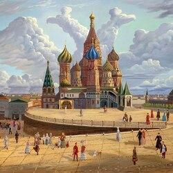 Пазл онлайн: Храм Василия Блаженного, середина XIX века