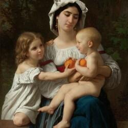Пазл онлайн: Мать и дети