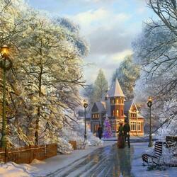 Пазл онлайн: Рождественская прогулка