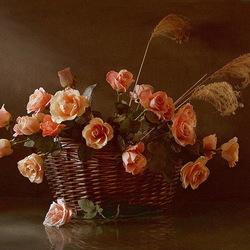 Пазл онлайн: Розы в корзине