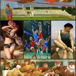 Пазл онлайн: Живопись и спорт