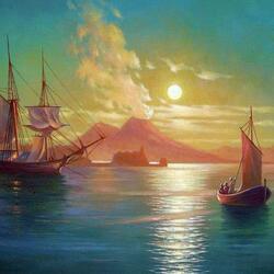 Пазл онлайн: Неаполитанский залив в лунную ночь