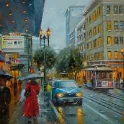 Пазл онлайн: Осеннний дождь в городе