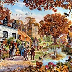 Пазл онлайн: Осень в городке