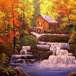 Пазл онлайн: Осень. Мельница