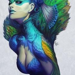 Пазл онлайн: Женщина-птица