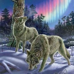 Пазл онлайн: Северные волки