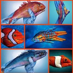 Пазл онлайн: Рыбки на руках