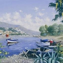 Пазл онлайн: Лодки у берега
