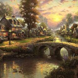 Пазл онлайн: Дома вдоль реки