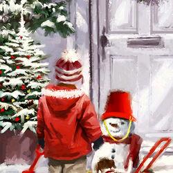 Пазл онлайн: Привез снеговика