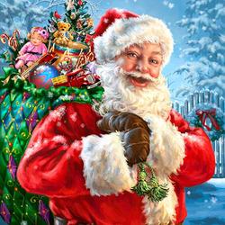Пазл онлайн: Санта с подарками