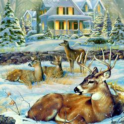 Пазл онлайн: Олени зимой