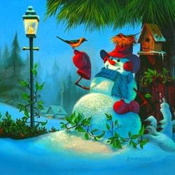 Пазл онлайн: Симпатичный снеговик