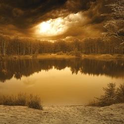 Пазл онлайн: Вечер на озере