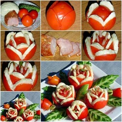 Пазл онлайн: Украшения из помидор