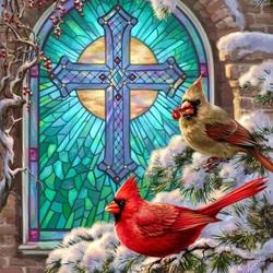 Пазл онлайн: У церковного окна