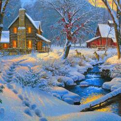 Пазл онлайн: Зимним вечером